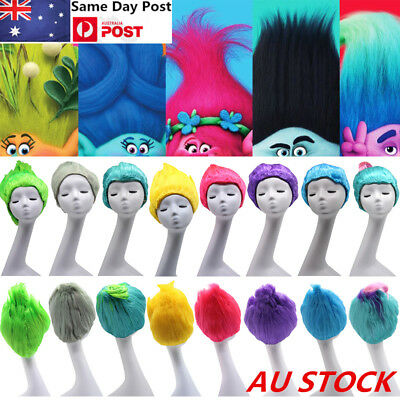 Adult/Kids Colorful Trolls Poppy Elf/Pixie Wigs Fance Dress Cospaly Halloween
