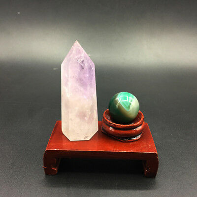 2pcs natural amethyst crystal point & agate crystal sphere ball reiki + stand