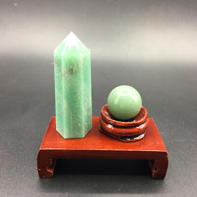 2pcs natural aventurine crystal point & aventurine crystal sphere ball + stand