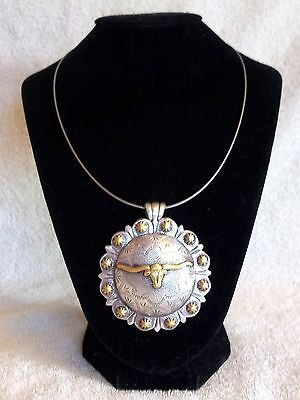 """Necklace Cowgirl Western Choker Chunky Pendant Concho NG Longhorn 2-3/8"""" round"""