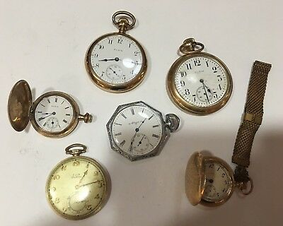 Lot of 6 Antique Vintage ELGIN Pocket Watches in Various Sizes