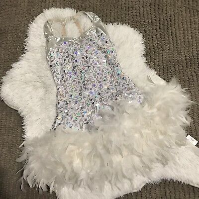 A Wish Come True Dance Costume Kids White with Feathers Size 11 12