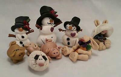 LOT of 9 Miniature Clay Art Pottery, Pig Piglet Sheep Snowmen Rabbits, Figurines
