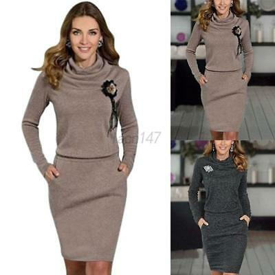 Women Autumn Winter Warm Casual Dress Long Sleeve Sweater Bodycon Party Cocktail