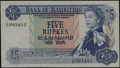 Africa Mauritius 1967 Banknotes 5 Rupees A-UNC