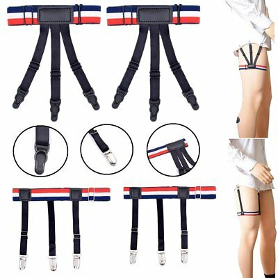 Strong Men's Shirt Stays Holders Elastic Garter Belt Suspender Locking Clamps AU