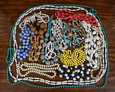 Lot of 17 Vintage Costume Jewellery Beaded Necklace Plastic Wood Mother of Pearl