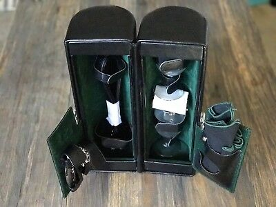 Legacy Black And Green Leather Wine Case With Strap Two Wine Glasses and Opener