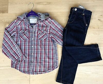 RIVER ISLAND **5y  BOYS BUNDLE Checked SHIRT TOP & JEANS OUTFIT AGE 5 YEARS