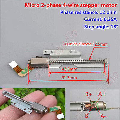 2-phase 4-wire Micro Mini Stepper Motor long linear screw lead slider DIY 18 deg