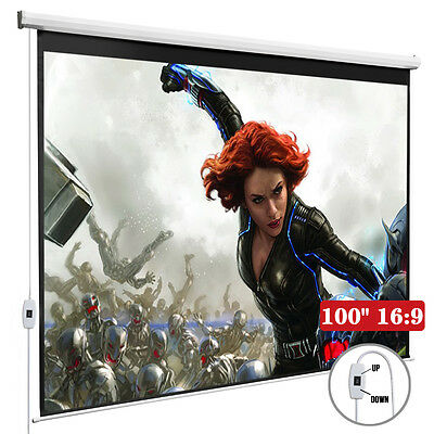 100'' 16:9 Home Movie Electric Projection Screen Pull Down Projector Matte White
