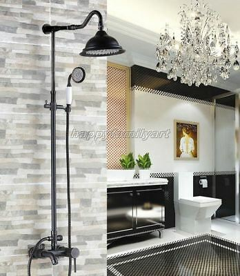 Black Oil Rubbed Brass Bathroom Rainfall Shower Faucet Set Tub Mixer Tap yrs605