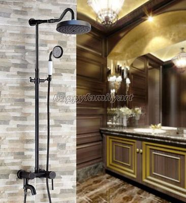 Oil Rubbed Brass Wall Mount Bathroom Rain Shower Faucet Set Tub Mixer tap yrs648