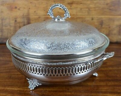 Silver Plated Brass Ornate Round Footed Server w Glass Insert & Lid Rogers