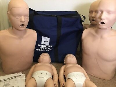 Prestan Medium Skin Family Pack CPR AED Manikins - 2x Adult, 1x Child, 2x Infant