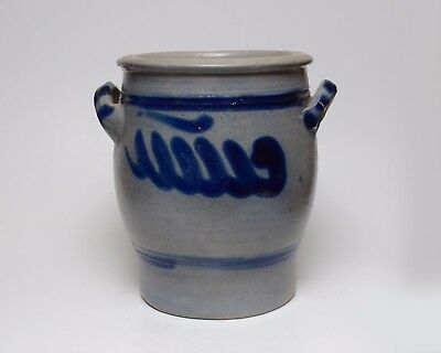 "Vintage Crock Pot with Handles Blue Delf Eared 3L Decoration Earthenware 8"" Tall"