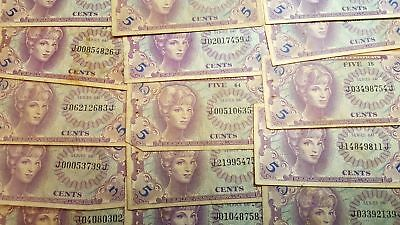 Lot of 17 Series 641 USA 5 Cents MPC Military Payment Certificates Circulated