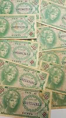 Lot of 16 Series 641 USA 10 Cents MPC Military Payment Certificates Circulated