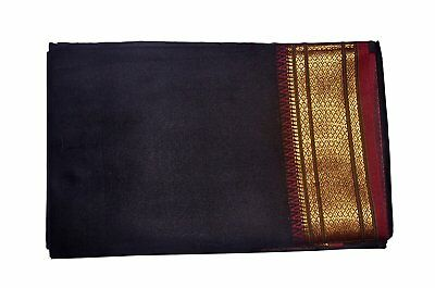 Black Dhoti With Shawl In Pure Silk Golden Border