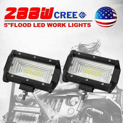 Pair 5inch 288W CREE LED Work Light Bar Flood Driving Lamp Offroad 4WD Truck SUV