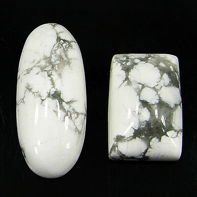 25.80 Ct Natural Howlite Cabochon Loose Gemstone Lot 2 Pcs New - H 6569