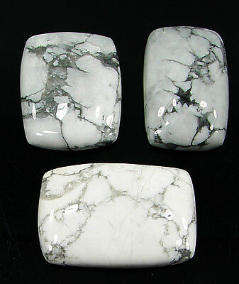 95.70 Ct Natural Howlite Cabochon Loose Gemstone Lot 3 Pcs New - H 6561
