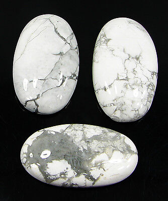 78.45 Ct Natural Howlite Cabochon Loose Gemstone Lot 3 Pcs New - H 6551