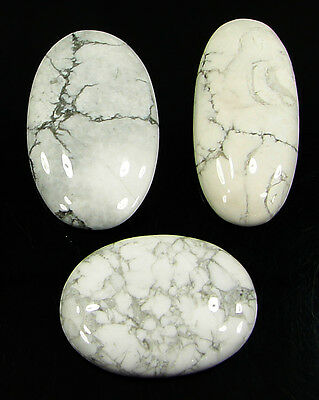 92.40 Ct Natural Howlite Cabochon Loose Gemstone Lot 3 Pcs New - H 6557