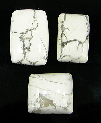 42.95 Ct Natural Howlite Cabochon Loose Gemstone Lot 3 Pcs New - H 6568