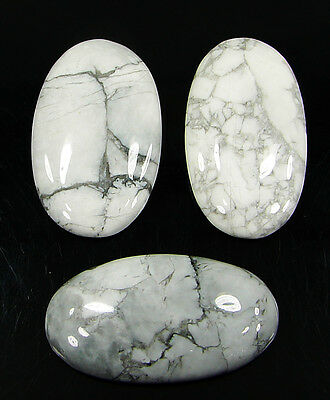 91.45 Ct Natural Howlite Cabochon Loose Gemstone Lot 3 Pcs New - H 6565