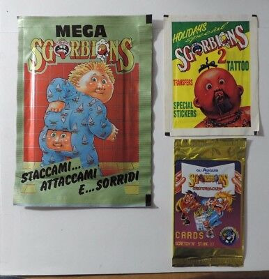 Rare Garbage Pail Kids Italian Sgorbions Unopened Packs 3 Different