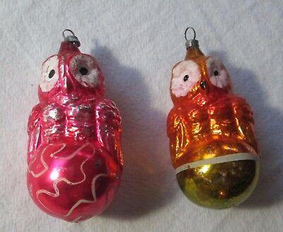 Vintage Lot of Two Different Germany Blown Glass Owl On Globe Ornaments