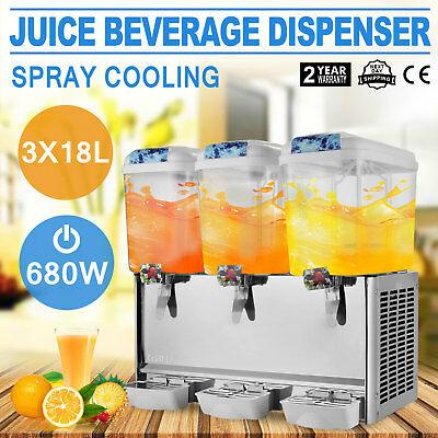 54L Juice Beverage Dispenser Bubbler 3 Tanks Commercial Ice Tea Vertical Spray