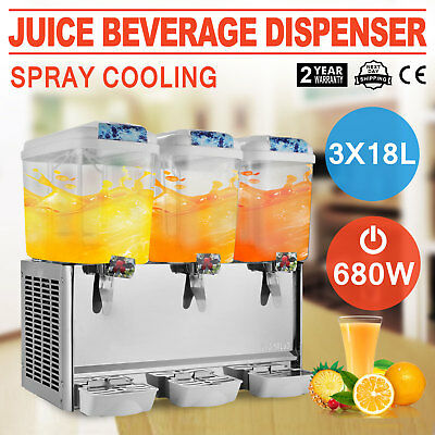 54L Juice Beverage Dispenser Bubbler 3 Tanks Commercial Bubbler Cold Drink