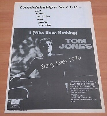 Tom Jones I Who Have Nothing 1970 Vintage Promo Ad