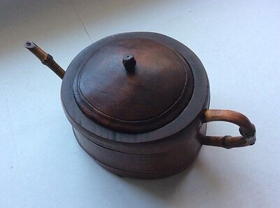 Rare Antique Primitive Asian Hand Carved Bamboo Wooden Chinese Teapot Water Pot