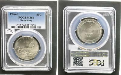 USA 1/2 Dollar 1996 S Olympiade Atlanta Swimming  Stempelglanz PCGS MS66