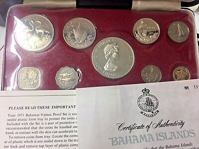 1971 Proof 9 Pcs Set With Cert Of Auth Franklin Mint Bahama Island - Proof