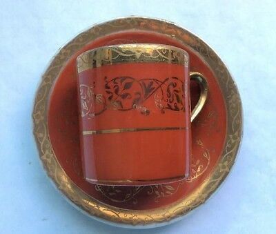 Arnart 5th Ave Hand Painted Red & Gold Demitasse Cup and Saucer #2055