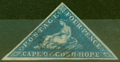Cape of Good Hope 1855 4d Blue SG6a Superb Used