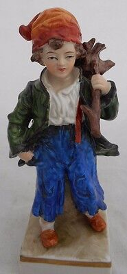 Sitzendorf Figure Peasant Boy Hand Painted German Porcelain Height 15 cm