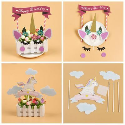 Party Favors Animal Birthday Craft Unicorn Cake Banners Picks Cupcake Toppers