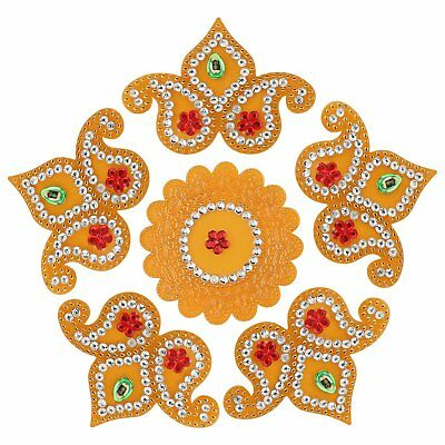 Handmade 6 Piece Acrylic Rangoli Diwali Deepawali Home Decor Floor 11 Inches New