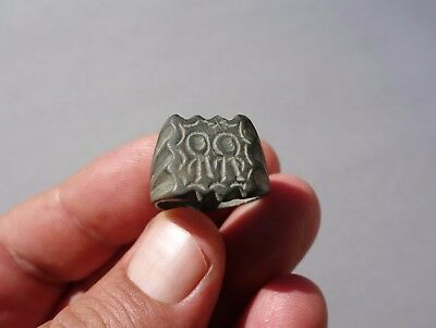 ancient bronze seal ring, medieval, carved a two saints with aureole, circa 14 A