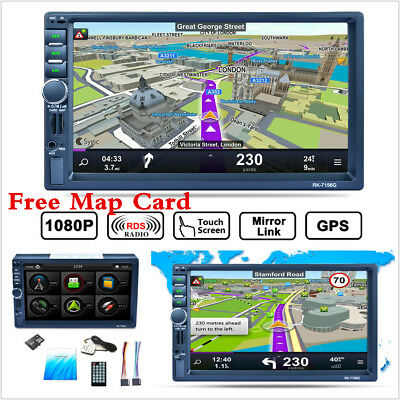 "7"" 2Din Car Dash MP5 Player Bluetooth GPS Navigation Radio Stereo RDS +Free Map"