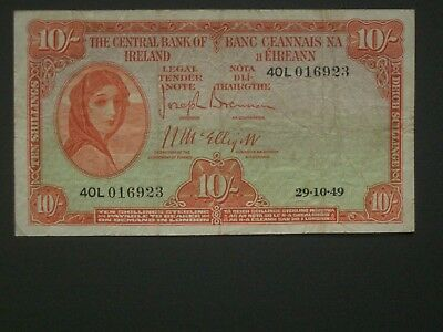 ***Scarce 'NVF' 1949 10's Lady Lavery** Central Bank of Ireland banknote****