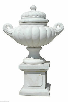 Grande Jar white Marble with Handles and Cover Handcarved Marble Big Vase
