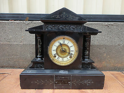 Antique Ansonia Black Marble Working Clock