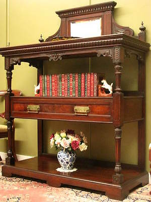 ANTIQUE CARVED MAHOGANY 3 TIER MIRROR DISPLAY STAND SIDEBOARD HALL CABINET c1900