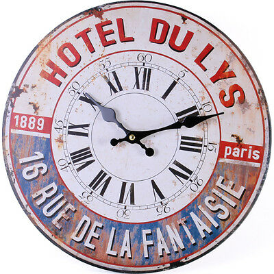 Vintage Style Shabby Chic French Paris Hotel du Lys Wall Clock - NEW